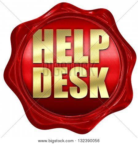 Helpdesk, 3D rendering, a red wax seal