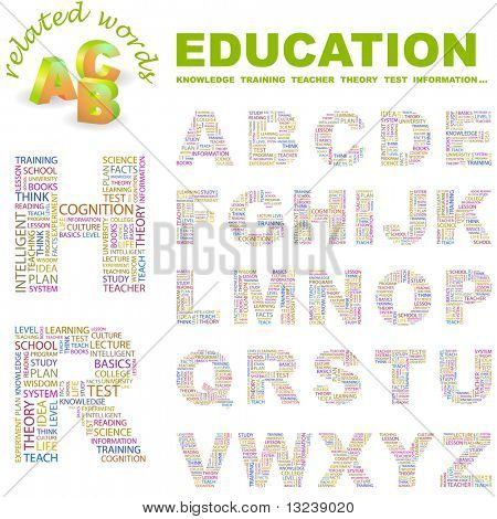 EDUCATION. Vector letter collection. Wordcloud illustration.
