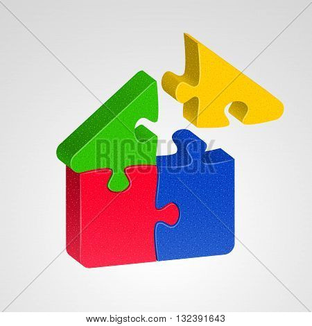 House icon combined from multicolor puzzles on light background. House building concept
