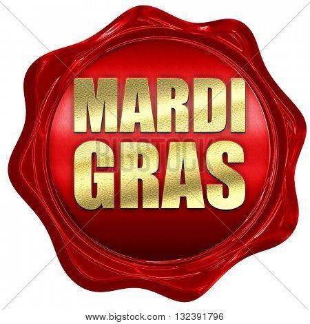 Mardi Gras, 3D rendering, a red wax seal