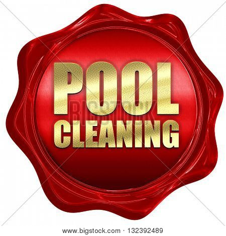 pool cleaning, 3D rendering, a red wax seal