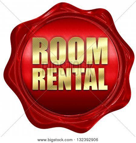 room rental, 3D rendering, a red wax seal