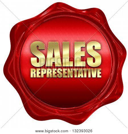 sales representative, 3D rendering, a red wax seal