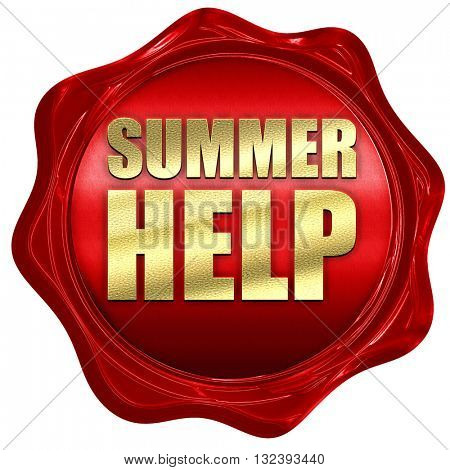 summer help, 3D rendering, a red wax seal