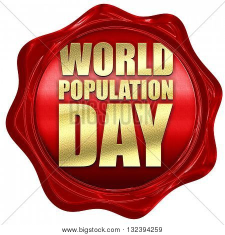 world population day, 3D rendering, a red wax seal