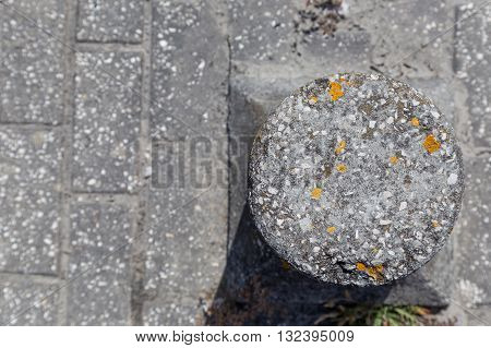 Road Barriers From Granite With Moss