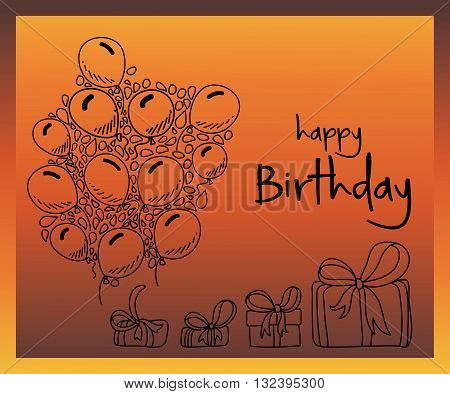 Illustration of Hand drawn doodle birthday party elements with balloons and gift boxes on bright background