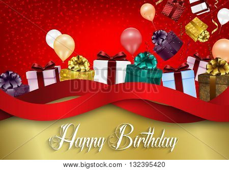 Illustration of Birthday background with color balloons and gift boxes on red bokeh background