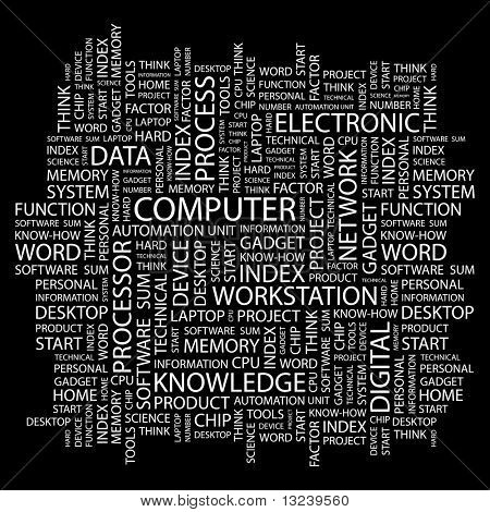 COMPUTER. Word collage on black background. Illustration with different association terms.