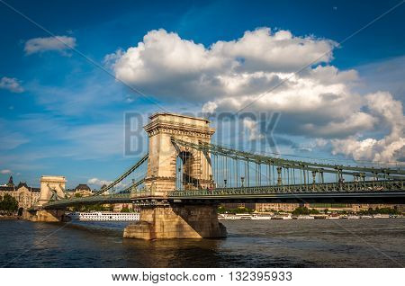 Chain Bridge was the first permanent stone-bridge connecting Pest and Buda, Budapest, Hungary