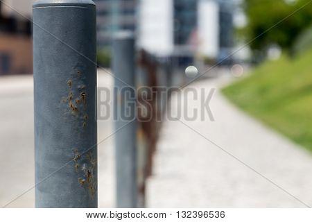 road steel barriers on side a street