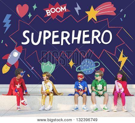 Superhero Kids Imagination Power Helper Concept
