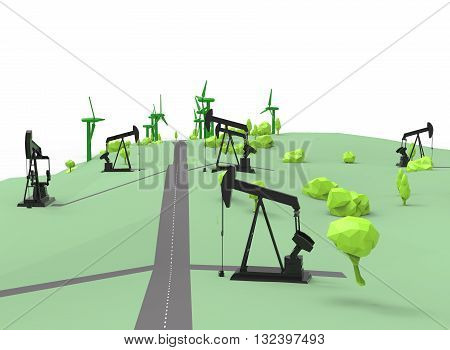 3d illustration of simple oil derricks with wind generators. low poly triangles and polygons style. icon for game web. green black texture color. white background isolated with shadow. simple to use.