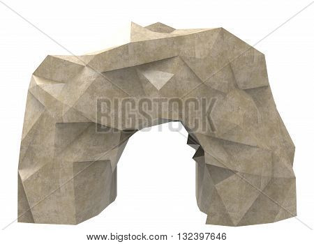 3d illustration of simple cave. low poly triangles and polygons style. icon for game web. rock texture color. white background isolated with shadow. simple to use.