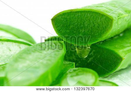 Slice Aloe Vera With Water Drop.
