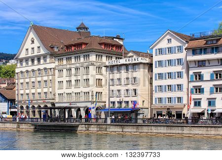 Zurich, Switzerland - 25 May, 2016: people and buildings on the Limmatquai quay. Zurich is the largest city in Switzerland and the capital of the Swiss canton of Zurich.