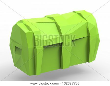 3d illustration of simple chest. simple to use. low poly style. on white background isolated with shadow. icon for game or web. green gold colors. banner treasure. pirates