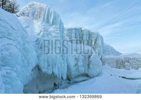 Icy waves on the beach of Lake Baikal near Turtle Rock.