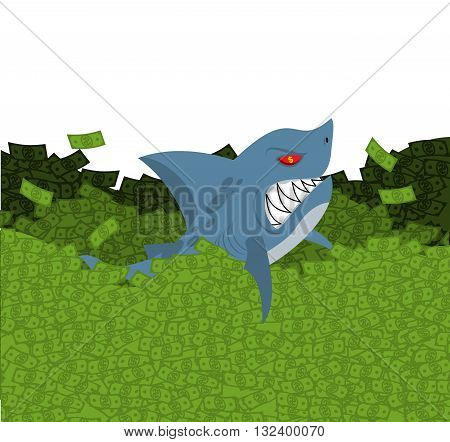 Business Shark. Marine Predator Swimming In Money. Green Wave Dollars. Sea Of ​​cash. Toothy Fish An