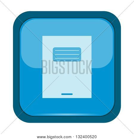 Exercise book icon on a blue button, vector illustration