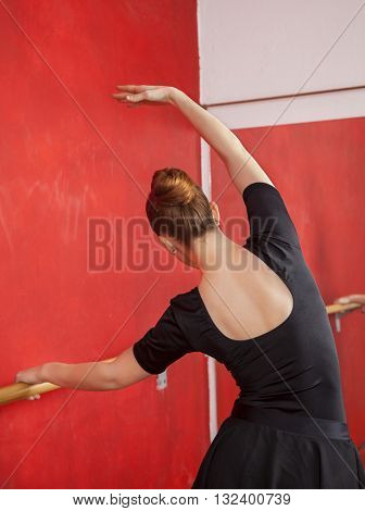Young Ballerina Practicing In Ballet Studio