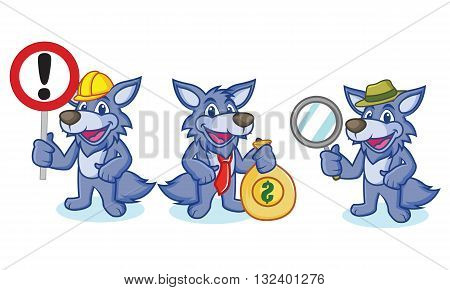 Wolf Mascot Vector with sign money and magnifying