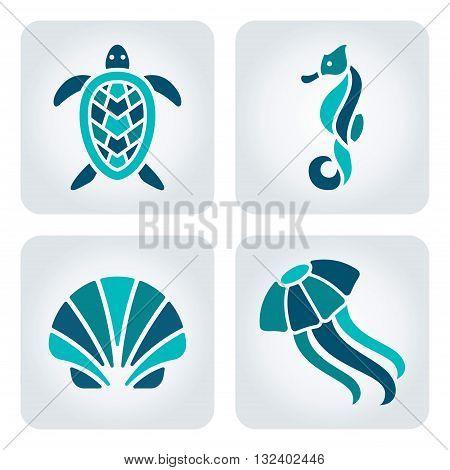 Set of 4 vector sea animals icons