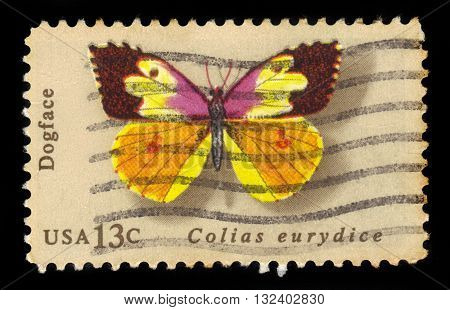 USA - CIRCA 1977: a stamp printed in the USA, shows butterfly california dogface , circa 1977