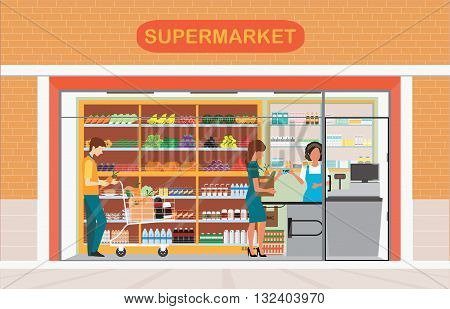 People in supermarket grocery store Supermarket building and interior with fresh food on shelves and counter cashier Flat vector illustration.