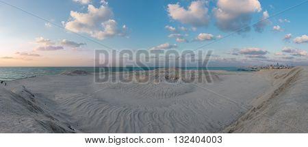 Panorama View Of The Desert Meeting The Ocean In Dubai