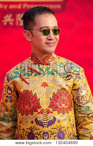 BANGKOK THAILAND - FEBRUARY 08 2016 : Unknown Thai man during the celebration of Chinese New Year and Valentine's Day in Yaowarat street Chinatown