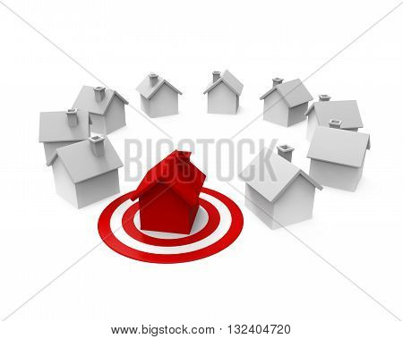 House and Red Darts Target isolated on white background. 3D render