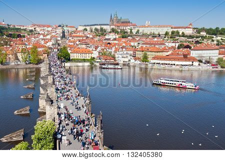 PRAGUE, CZECH REPUBLIC - MAY 05 2016: Charles bridge Moldau river Lesser town Prague castle Prague (UNESCO) Czech republic