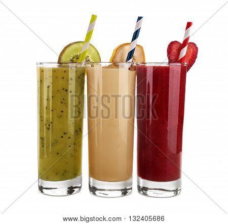 Smoothie banana kiwi and strawberry juice isolated on a white background
