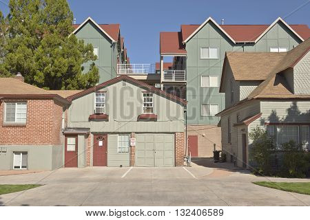 Architecture of backyard condominiums in downtown Boise Idaho.