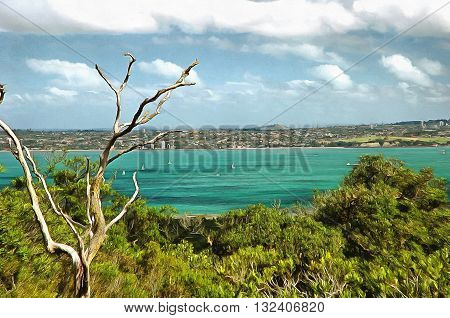 View of auckland across hauriki gulf from Rangitoto island