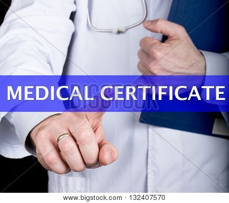 technology, internet and networking in medicine concept - medical doctor presses medical certificate button on virtual screens. Internet technologies in medicine.