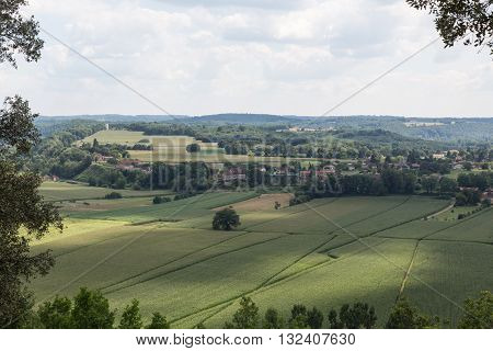 Landscape view of the countryside in France's Dordogne region