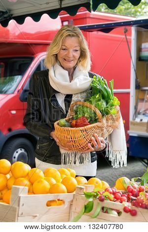 Attractive Woman Shopping For Fresh Produce