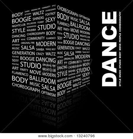 DANCE. Word collage on black background. Vector illustration.