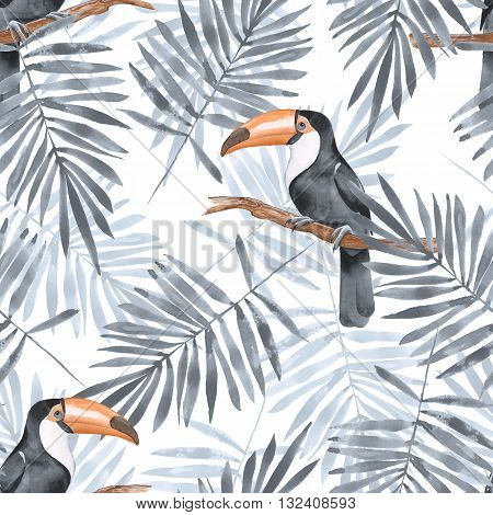 Palm leaves and Toucan. Watercolor seamless pattern 2