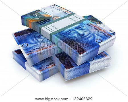 Stacks of swiss francs on white background - 3D illustration