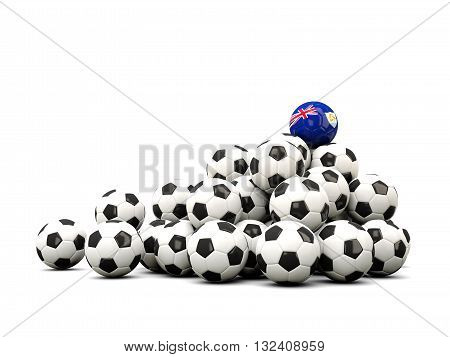 Pile Of Soccer Balls With Flag Of Anguilla