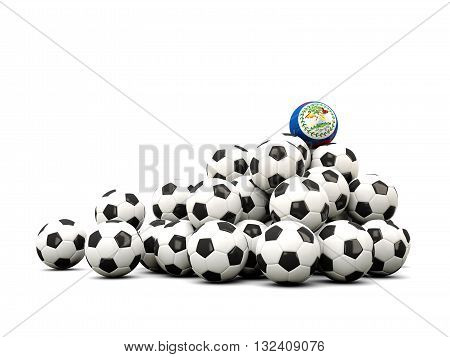 Pile Of Soccer Balls With Flag Of Belize