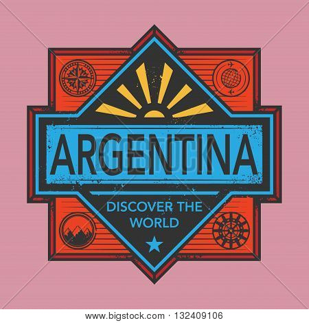 Stamp or vintage emblem with text Argentina, Discover the World, vector illustration