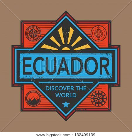 Stamp or vintage emblem with text Ecuador, Discover the World, vector illustration