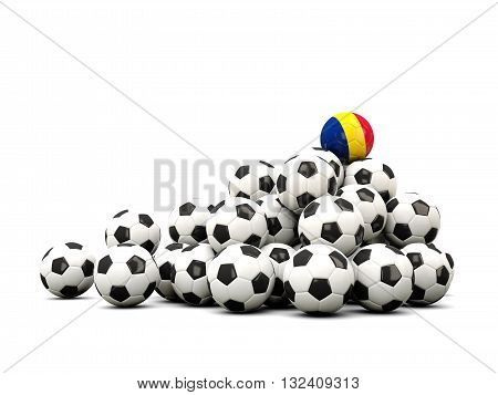 Pile Of Soccer Balls With Flag Of Chad