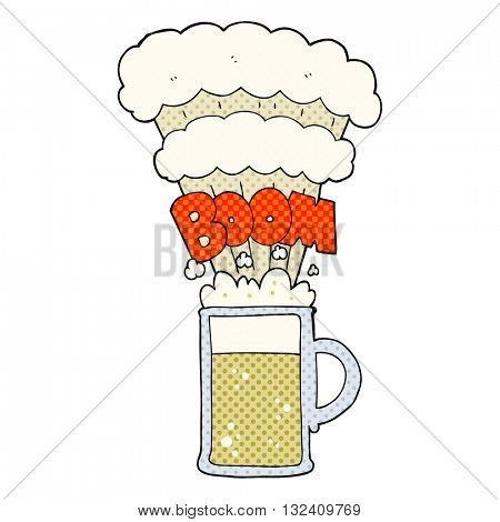 freehand drawn cartoon exploding beer