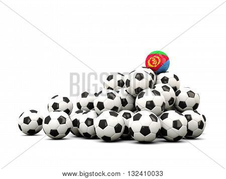 Pile Of Soccer Balls With Flag Of Eritrea