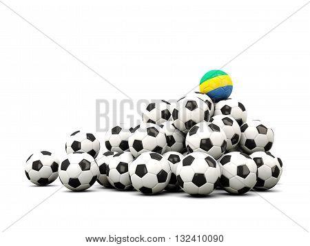 Pile Of Soccer Balls With Flag Of Gabon